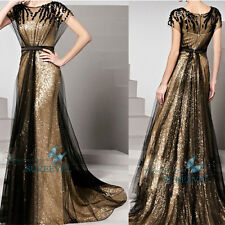 Cap Sleeve Sequins Formal Evening Dress Ball Gowns Party Prom Bridesmaid Dress