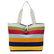 Ladies Colored stripes Canvas Shopping Handbag Shoulder Bag Tote Purse Bag