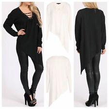 WOMENS LADIES LONG SLEEVE LOOSE FIT SOFT KNIT ASYMMETRIC HEM EYELET LACE UP TOP
