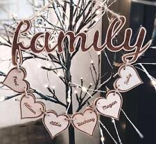 Beautiful Personalised Family Plaque Wooden Hearts Gift hanging decoration