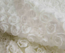 "51"" Wide for Wedding Dress 3D White Chiffon Rosette Bridal Lace Fabric 0.5 Yard"