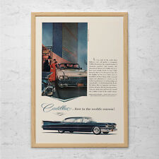 VINTAGE CADILLAC CAR Ad - Rockabilly Car Poster - Garage Wall Art, Retro Wall Ar