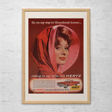 VINTAGE CAR AD - Classic Red Car Poster, Retro Garage Poster, Man Cave Wall Art,