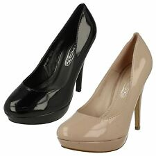 Ladies Spot On Court Shoes / High Heel / Patent / Slip On