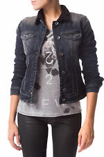 GAS WARMING BEAR W716 Giubbino jeans donna in denim con eco-pelliccia