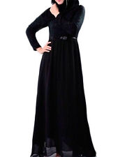 Black Lace Abaya  Jilbab Islamic dress Outdoor Fancy Dress With Removable Belt