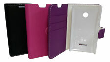 BLACK FLIP LEATHER WALLET BOOK CASE CARD HOLDER COVER FOR NOKIA LUMIA 435 N435
