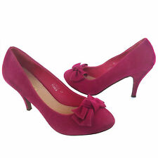 Damen Designer Puple Velour High Heels Schleife Pumps Stilettos Schuhe Gr 39 Neu