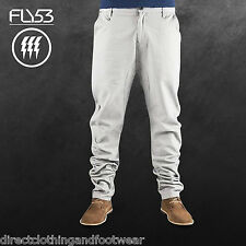 FLY53 MENS GREY GALLOWFLAT CHINO JEANS RRP £59 SAVE 75% OFF