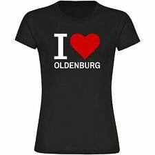 T-Shirt Rundhals Classic I Love Oldenburg schwarz Damen Gr. S bis 2XL
