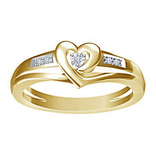 Beautiful Heart Shape Solitaire W/Accents Ring Over Gold Real Diamond 925 Silver