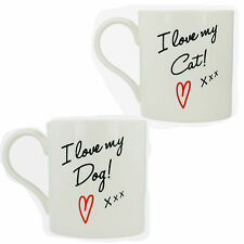 LP91937 LP91938 COFFEE TEA FINE CHINA CUP MUG I LOVE MY CAT DOG LESSER AND PAVEY