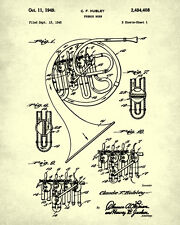 French Horn Patent Print Musical Instrument Wall Art Orchestra Poster