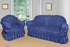 Blue Jacquard Sofa Covers for 1, 2 & 3 seater sofa / Alternate to Sofa Throw