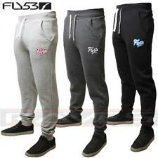 Mens Fly 53 Fleece Fitted Tracksuit Bottoms Joggers Sweat Pants Rotherite