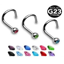 UK SELLER Crystal Bezel Set CZ Gem G23 Titanium Nose Screw - 18g 20g 6mm