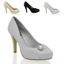 WOMENS BRIDAL HIGH HEEL PLATFORM DIAMANTE LADIES SLIP ON EVENING COURT SHOES