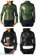 Ladies Diamond Quilted Double Zip Smart Short Biker Leather Jacket - Black/Green