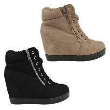 womens ladies wedge trainers ankle boots shoes faux suede stunning size