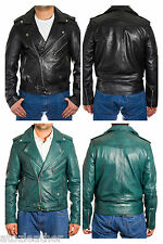 Mens Real Wax leather Classic Brando Long Sleeves Motorbike Jacket Black & Teal