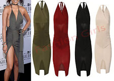 Womens Ladies Ruched slinky Backless Halter Neck Wrap Draped Bodycon Party Dress