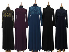 Ladies Party Glitter Bead Empire Maxi Long Dress Jilbab Kaftan Abaya 52 54 56 58