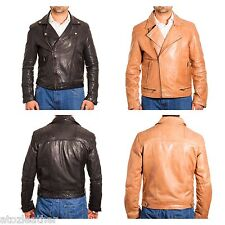 Mens NEW Brando Long Sleeved Cross Zipped Biker Jacket Quilted Shoulders Detail