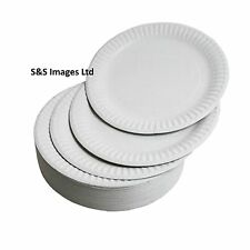 """WHITE ROUND DISPOSABLE PAPER PLATES SIZE 6"""" 7"""" & 9"""" inch Small Large 18cm 23cm"""