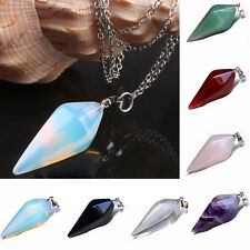 Gemstone Crystal Pendulum Dowsing Healing Reiki Chakra Pendant Chain Necklace
