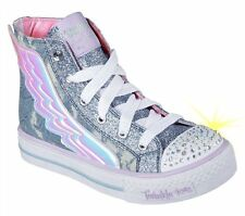 Skechers 10565 Lights Shuffles Pixie Kids Denim Shoes