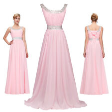 Chiffon Pink Evening dresses Prom Bridesmaids long Formal Party Ball Gowns Sexy