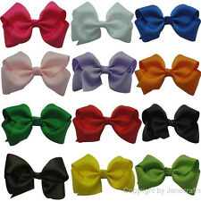 "12pcs 3.5"" Boutique Hair Bows Ribbon Girls Baby Accessories Clips Band Headband"