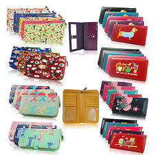 Womens Ladies Designer Oilcloth Large Purse Wallets Girls Coin Long Purse