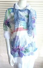 Fab cotton tunic with floral print overtop and scarf  set - Tammy