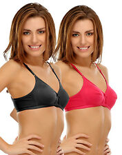 Clovia Cotton T-Shirt Bra With Cross-Over Moulded Cups In Black &Pink(Brc023P20)