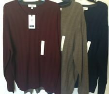 Turnbury Men Extra Fine Merino Wool V-Neck Sweater Biella Yarn Size L XL NWT