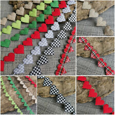 VINTAGE Gingham Ribbon Heart Cotton trim CRAFT LOVE Classic gift sewing lace