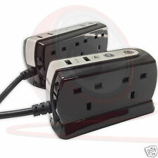 2m USB Surge Protector Office Studio Home Trailing Socket Extension Lead 4 6 Way