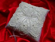 Exclusive wedding ring cushion / pillow with crochet lace and crystals-NEW