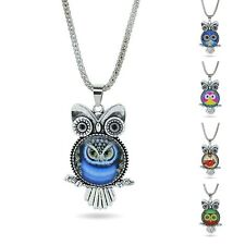 SILVER PLATED LADY OWL CABOCHON NECKLACE PENDANT CHAIN WOMEN JEWELRY CHARM