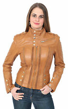 Womens Slim Fit Biker Style Real Leather Jacket Lily Brown Designer Italian COAT