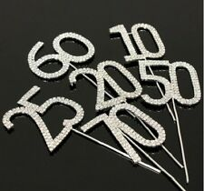 Rhinestone Gem CAKE TOPPERS Numbers Hearts LOVE Birthday Anniversay Party