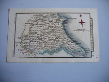 EAST RIDING, YORKSHIRE,GEORGIAN MINIATURE MAP- LEIGH AND HALL- ORIG WASH COLOUR