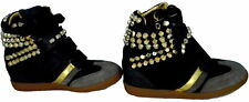 Scarpe Donna Zeppa Alta Pelle Serafini Manhattan Black Gold Studs Sneakers Shoes