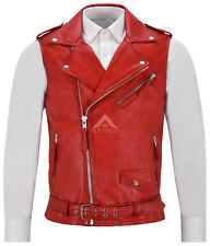Men's Brando Red Motorcycle Biker Steam Punk Real Lamb Leather Waistcoat 1025