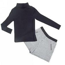 New Ex M&S Marks & Spencer 2pc Black Rib Turtle Polo Neck Top Dogtooth Shorts