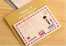 Novelty Postcard Style Sticky Notes Sticker Marker Memo Notepad London Paris