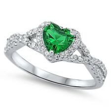 Sterling Silver 925 HEART LOVE KNOT EMERALD CLEAR CZ PROMISE RING 8MM SIZE 4-12