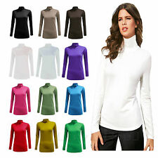 WOMENS LONG SLEEVE TURTLE NECK TOP LADIES ROLL NECK  POLO NECK JUMPER  8-26