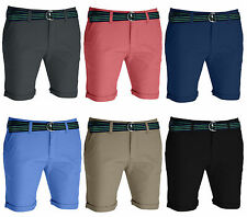 Mens Belted Chino Shorts Slim Fit Cotton Half Pant Cargo Combat Jeans Free Belt
